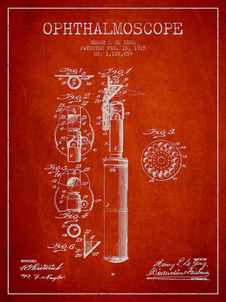 Device Digital Art - Ophthalmoscope Patent From 1915 - Red by Aged Pixel