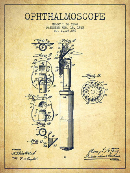 Wall Art - Digital Art - Ophthalmoscope Patent From 1915 - Vintage by Aged Pixel