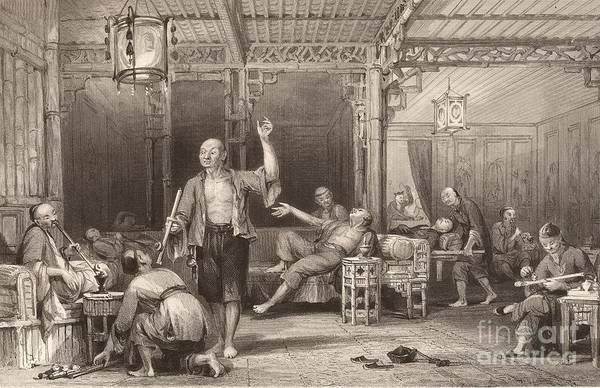 Opium Smokers In China, 1840s Art Print