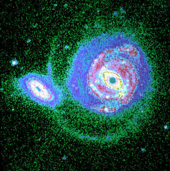 Interacting Galaxies Wall Art - Photograph - Optical Ccd Image Of Interacting Galaxies Ngc 5754 by Dr William C. Keel/science Photo Library