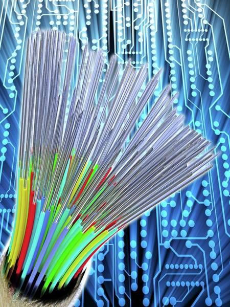 Optical Fibre Cable. Circuit Board Art Print