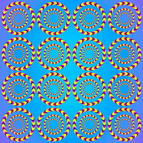 Rotating Digital Art - Optical Illusion Spinning Wheels by Sumit Mehndiratta