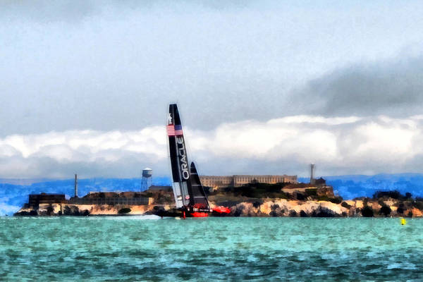 Racing Yacht Photograph - Oracle Team Usa And Alcatraz by Michelle Calkins