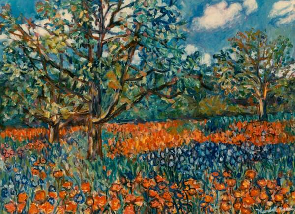 Painting - Orange And Blue Flower Field by Kendall Kessler