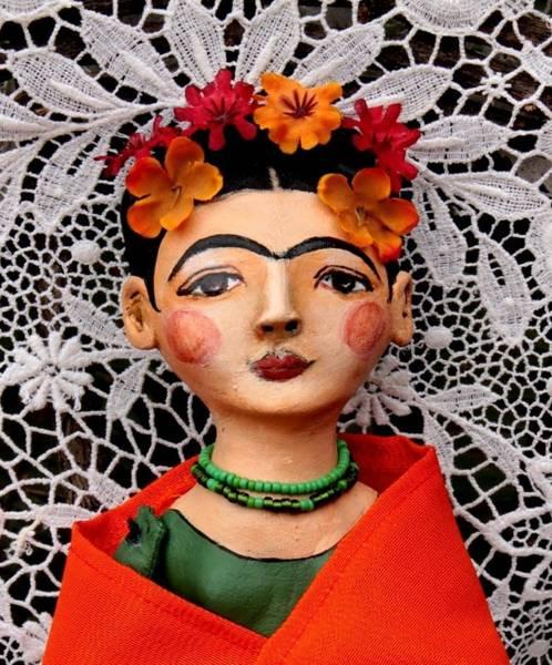 Wall Art - Sculpture - Orange And Green Frida Detail by Lulu Moonwood murakami