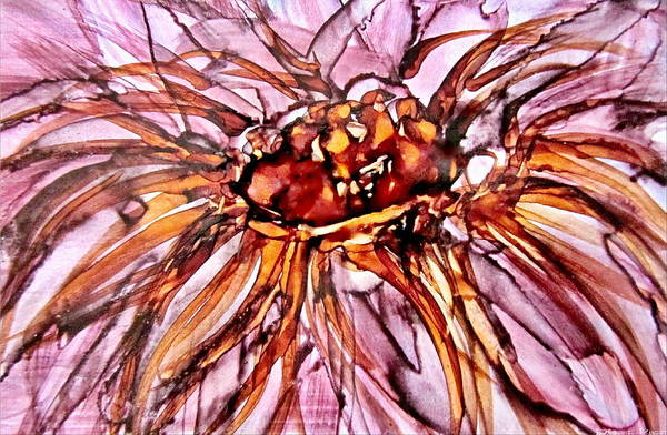 Mixed Media - Orange And Pink Dahlia Alcohol Inks by Danielle  Parent