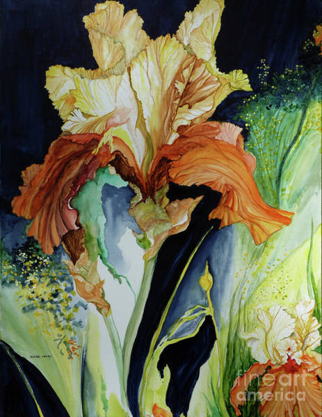 Painting - Orange And Yellow Iris by Rachel Lowry