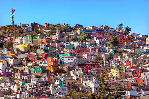 Balcony Photograph - Orange, Blue, Red Houses Of Guanajuato by William Perry