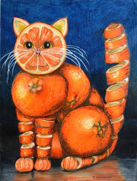 Drawing - Orange Cat by Jane Loveall