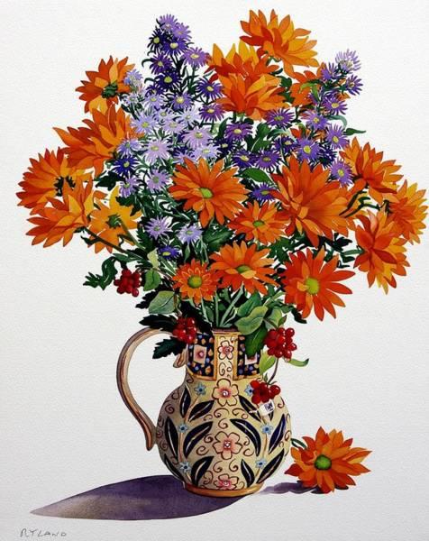 Violet Painting - Orange Chrysanthemums by Christopher Ryland