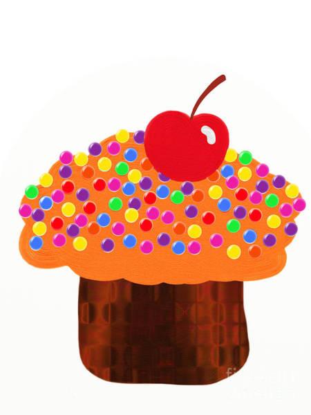 Digital Art - Orange Cupcake by Andee Design