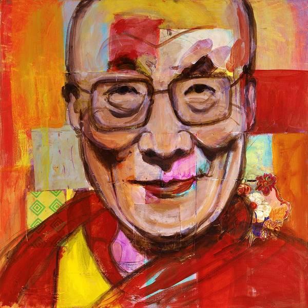 Dalai Lama Wall Art - Painting - Orange Dalai Lama by Melinda Jones