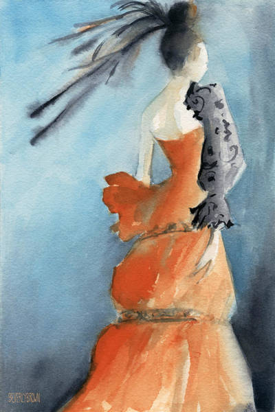 Painting - Orange Evening Gown With Black Fashion Illustration Art Print by Beverly Brown