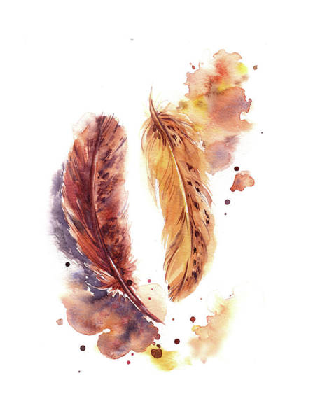 Wall Art - Painting - Orange Feathers by Sophia Rodionov