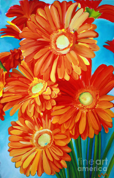 Gerbera Painting - Orange Gerber Daisys by Jayne Morgan