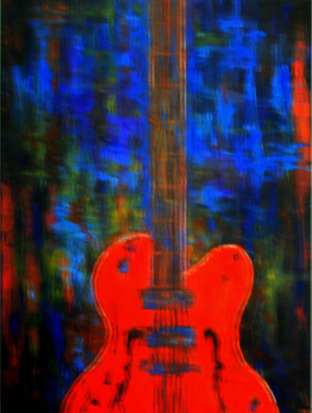 Painting - Orange Gretsch Guitar by Kathy Peltomaa Lewis