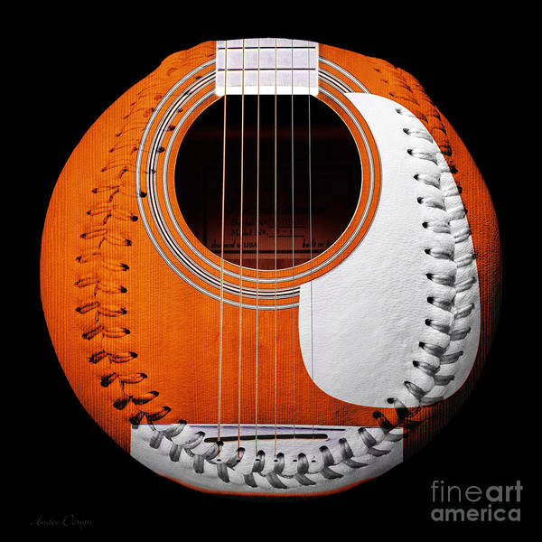 Digital Art - Orange Guitar Baseball White Laces Square by Andee Design