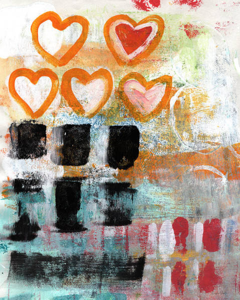 Blue Heart Wall Art - Painting - Orange Hearts- Abstract Painting by Linda Woods
