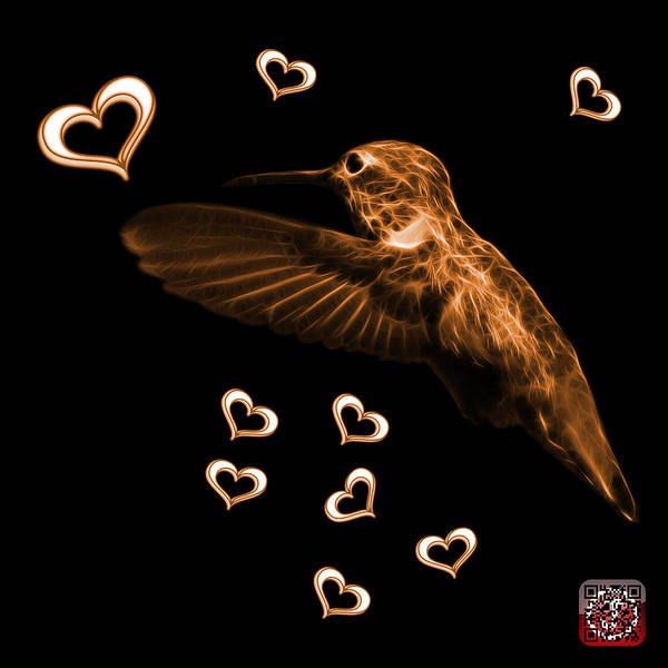 Digital Art - Orange Hummingbird - 2055 F M by James Ahn