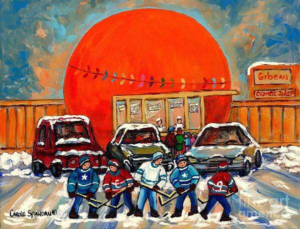 Painting - Hot Hockey Game Cool Julep At Montreal's Roadside Attraction The Orange Julep By Carole Spandau by Carole Spandau