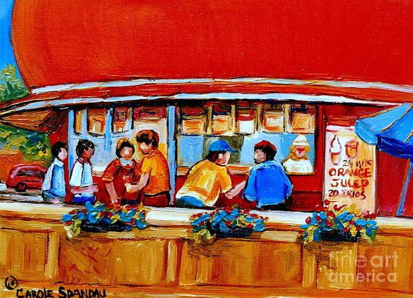 Painting - Orange Julep Gibeau Landmarks Of Montreal by Carole Spandau