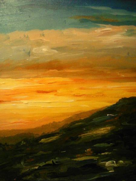 Painting - Orange Landscape With A Sunset by Ray Khalife