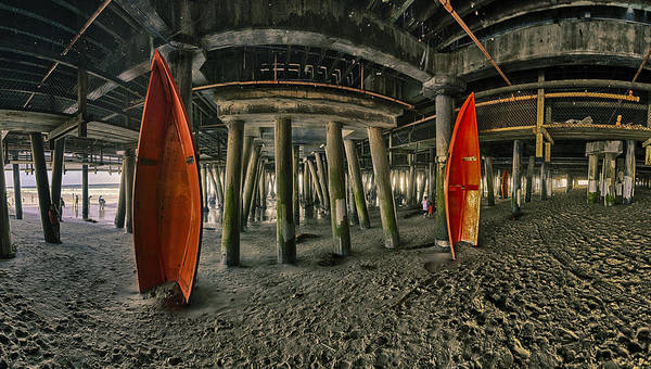 Photograph - Orange Life Boats Under The Santa Monica Pier by Scott Campbell