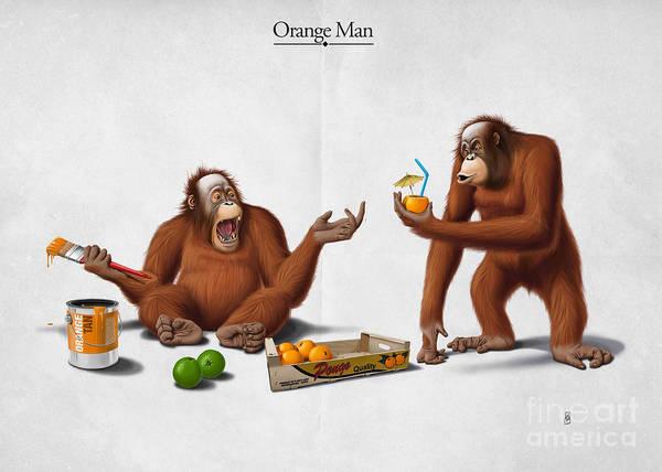 Mixed Media - Orange Man by Rob Snow