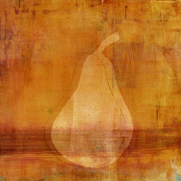 Bright Colorful Mixed Media - Orange Pear Monoprint by Carol Leigh