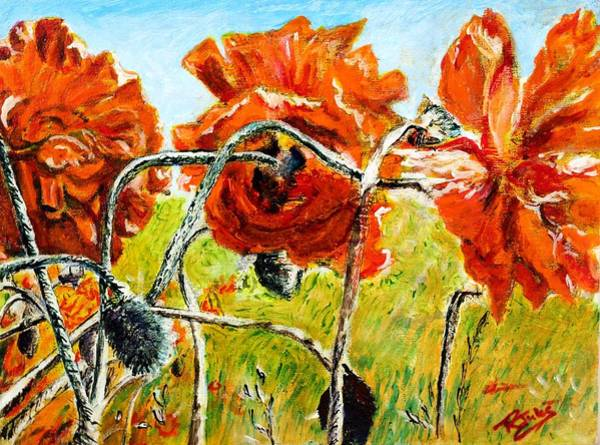 Painting - Orange Poppies by Richard Jules