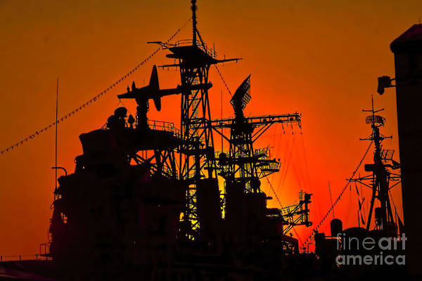 Photograph - Orange Silhouetted Uss Little Rock by Jim Lepard