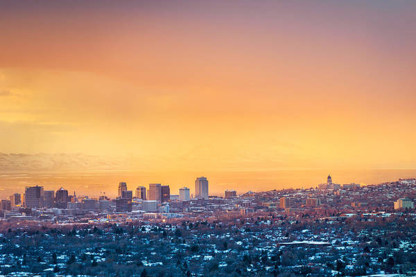 Photograph - Orange Sky In Salt Lake City by James Udall