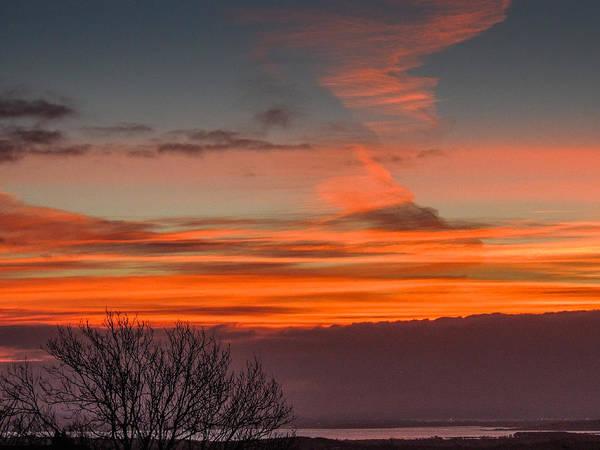 Photograph - Orange Sky Over Ireland's River Fergus by James Truett