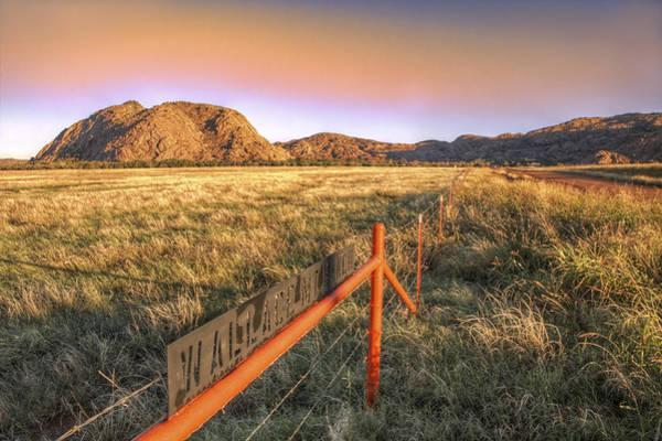 Photograph - Orange Sky Over Wallace Mountain - Quartz Mountains - Oklahoma by Jason Politte