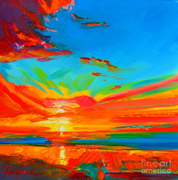 Painting - Orange Sunset Landscape by Patricia Awapara