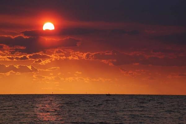 Wall Art - Digital Art - Orange Sunset Over Oyster Bay by Michael Thomas