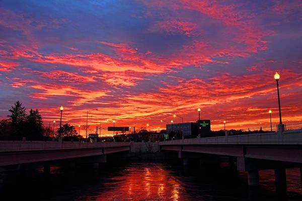 Photograph - Orange Sunset Over Stewart Avenue by Dale Kauzlaric