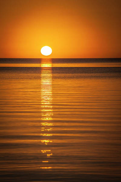 Ambergris Caye Photograph - Orange Sunset Over The Water In Belize by Jess McGlothlin Media
