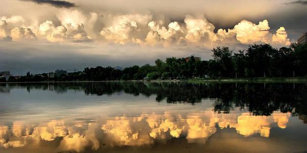 Photograph - Orange Sunset Reflection by Daliana Pacuraru