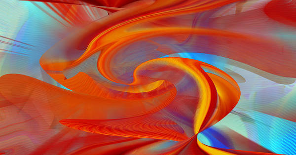 Digital Art - Orange Swirl Abstract by rd Erickson