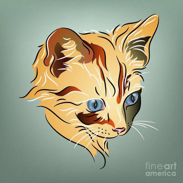 Digital Art - Orange Tabby Kitten by MM Anderson
