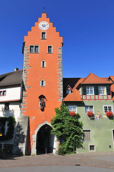 Photograph - Orange Tower And Blue Sky - City Gate In Meersburg Germany by Matthias Hauser