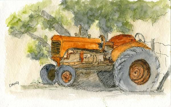 Painting - Orange Tractor by David King