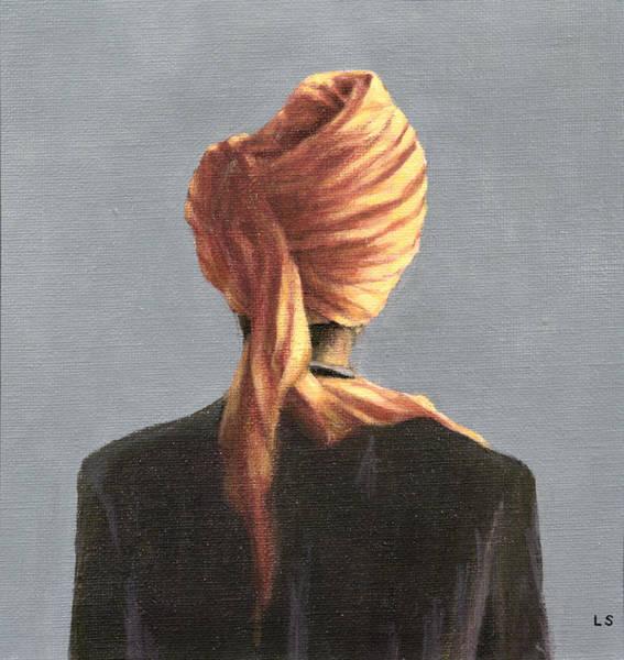 Headdress Photograph - Orange Turban, 2004 Acrylic On Canvas by Lincoln Seligman