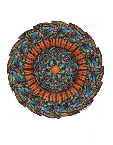Sacred Geometry Drawing - Orange Umber by Sharon Andrews