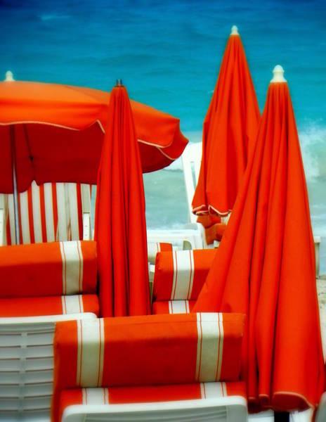St. Maarten Photograph - Orange Umbrellas by Karen Wiles
