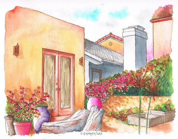 Acuarela Painting - Orange Wall And Bougainvilleas In Venice - California by Carlos G Groppa