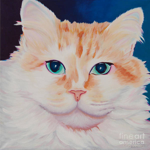 Painting - Orange White Cat Portrait by Robyn Saunders