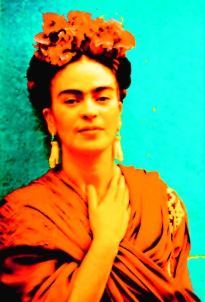 Mixed Media - Orange You Glad It Is Frida by Michelle Dallocchio