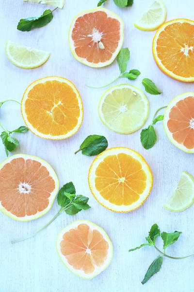 Lemon Photograph - Orange,grapefruit,lemon&mint Leaf by Kyoko Hasegawa Photography